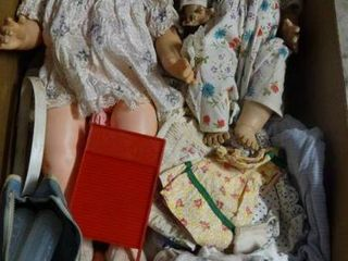 2 Vintage Dolls With Clothes and Bottles
