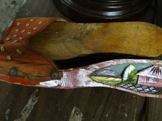 Vintage Hand Painted Wood Shoes