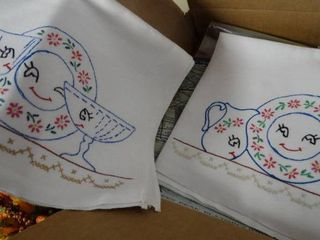 Hand Decorated Dish Towels and Other Vintage Items