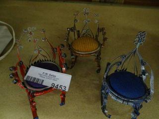 3 Miniature Chairs  Vintage