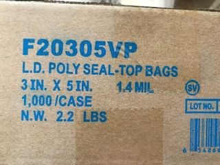 Box of 1000 small Ziploc bags 3 x 5