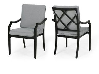 San Diego OutdoorAluminum Black Frame Dining Chairs by Christopher Knight Home  Retail 326 99