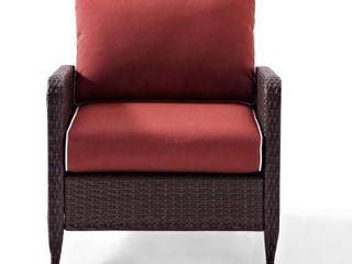 Crosley Furniture Kiawah Outdoor Wicker Arm Chair  Sangria Cushions
