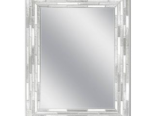 23 5 x 29 5 Silver Reeded Mosaic Rectangle Wall Mirror   Retail 129 49