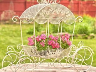 Victorian Iron Cinderella Carriage Flower Stand in White  Stephania  Retail 128 69