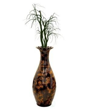 Traditional Brown Trumpet Shaped Floor Vase  36 Tall
