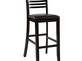 linon Triena Collection High ladder Bar Stool  Espresso  30 inch Seat Height