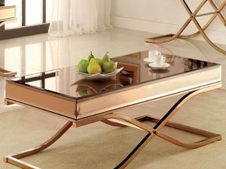 Furniture of America laja Contemporary Gold Metal Coffee Table  Retail 372 49