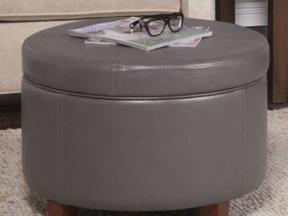 Porch   Den Rockwell Charcoal Grey leatherette Round Storage Ottoman  Retail 87 49