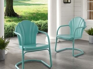 Diana Bay Blue Retro Metal Chairs  Set of 2  by Havenside Home  Retail 117 99