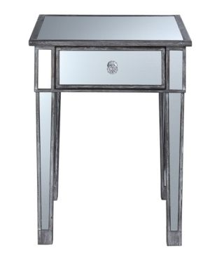 Convenience Concepts Gold Coast Mirrored End Table with Drawer  Multiple Colors