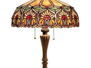 Chloe lighting Sunny Tiffany Style 2 light Floral Table lamp with 18  Shade