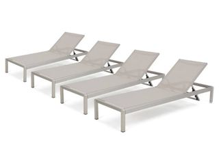 Cape Coral Outdoor Aluminum Adjustable Chaise lounge  Set of 2  by Christopher Knight Home  Retail 905 99