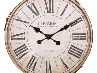 22  Glenmont Roman Numeral Wall Clock with leather Strap and Buckle  Retail 79 98