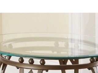 Copper Grove Woodend Glass top Round End Table  Retail 108 77