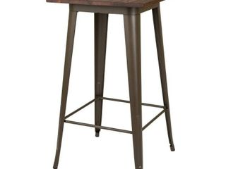 Carbon loft Greenwood Farmhouse Metal Bar Table with Wood Top  Retail 157 99