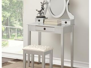 Roundhill Moniya Wood Makeup Vanity Table and Stool Set  Silver