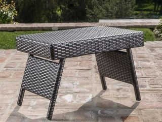 Vilano Outdoor Grey Wicker Patio End Table