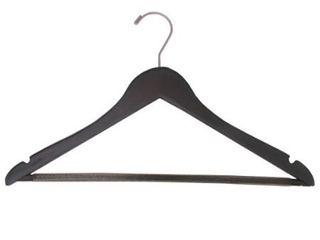 Espresso Finish Suit Hanger with Black Velvet Non Slip Bar  Box of 100 Flat Hangers with Notches and Swivel Hook   Retail 141 49