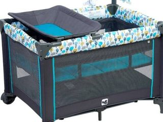 Portable Playard Sturdy Play Yard with Comfortable Mattress and Changing Station  Blue Green