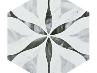 SomerTile Carra Bardiglio Floral 7x8 inch Porcelain Hexagon Floor and Wall Tile  25 tiles 7 84 sqft