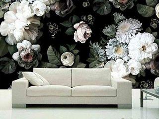 White Peony Blossom  Dark Floral Textile Wallpaper  Retail 322 99