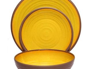 Melange 18 Piece Melamine Dinnerware Set  Clay Collection  Shatter Proof and Chip Resistant Melamine Plates and Bowls Color  Yellow Dinner Plate  Salad Plate   Soup Bowl  6 Each