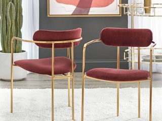 Simple living Retro Velvet Dining Arm Chair  Set of 2  Retail 235 49