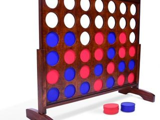 GoSports Giant Dark Wood Stain Four in a Row Backyard Game a 4 Foot Width a With Connect Coins  Portable Case and Rules