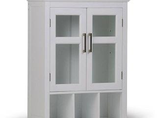 Simpli Home Avington Wood Double Door Wall Medicine Cabinet in Pure White