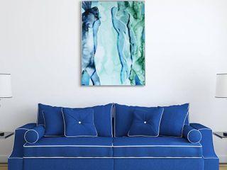 Blue Silhouette Glass Art Metal Silver Frame Wall Art   Multi color
