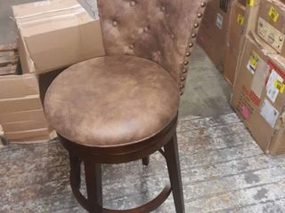 Gracewood Hollow Yeghishe Chocolate Brown Swivel Barstool with Chestnut Faux leather