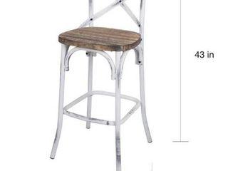 ACME Furniture 96642 Zaire Bar Chair  Walnut Antique White