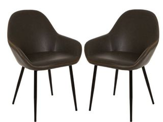 Glitzhome Set of 2 Vintage leatherette Dining Armchair