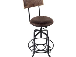 Armen living Damian Height adjustable Grey Bar Stool w  Brown Seat