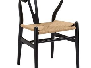 Set of 2 Poly and Bark Weave Chair in Black  Retail 147 49