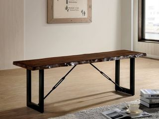 Furniture of America Mass Industrial Walnut Solid Wood Bench  Retail 264 99