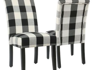 HomePop Black Plaid Parsons Dining Chairs  set of 2