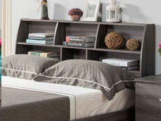 Full size distressed grey bookcase headboard