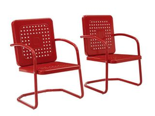 2pk Bates Outdoor Metal Chairs Red   Crosley