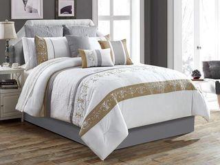 Safdie   Co  Comforter Set 7Pc K Microfiber Excalibur White King