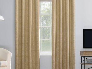 95 x50  Evie Medallion Jacquard Extreme Total Blackout Grommet Top Curtain Panel Beige linen   Sun Zero