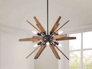 Bernice Antique Black Sputnik Natural Wood 6light Chandelier  Retail 178 99