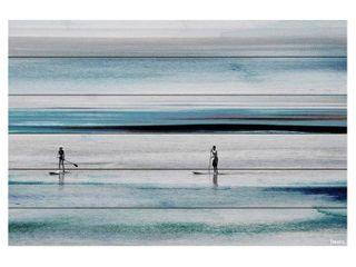 Handmade Beach Paddling Print on White Wood