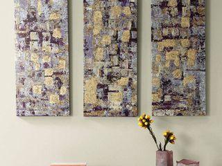 Madison Park Gilded Violet Gel Coat Printed Canvas 3 piece Set