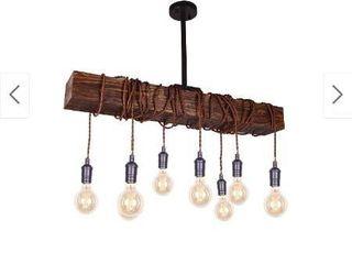 Farmhouse 8 light Distressed Wood Beam Chandelier  Retail 192 49