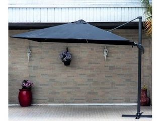 10  Deluxe Patio Umbrella with lED lights by Havenside Home   Black