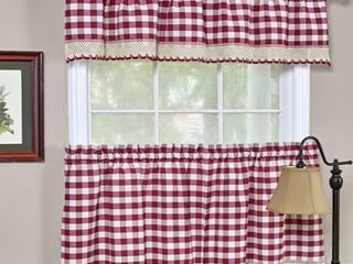 Classic Buffalo Check Kitchen Burgundy White Curtain Set or Separates