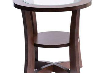 Copper Grove Eclipse Espresso Glass Top End Table  Retail 123 99