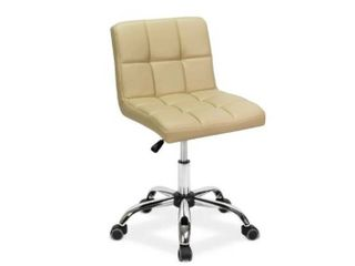 TOTO Home Office Button Tufted Desk Chair  Armless Thick Cushion  Adjustable Height 19 25  Cream Pearl  Retail 99 99